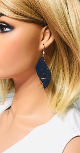 Navy Cork Leather Earrings - E19-1236