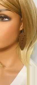 Embossed Ostrich Leather Earrings - E19-1242