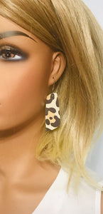 Almond Large Cheetah Leather Earrings - E19-1259