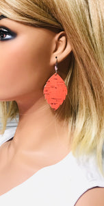 Salmon Cork Leather Earrings - E19-1260