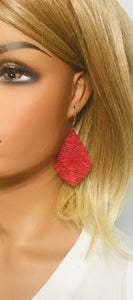 Marbled Red Leather Earrings - E19-1267