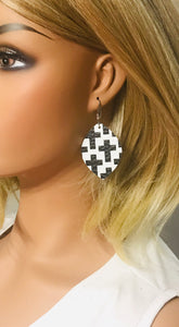 Black Crosses on off White Leather Earrings - E19-1276