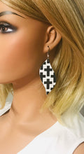 Load image into Gallery viewer, Black Crosses on off White Leather Earrings - E19-1283