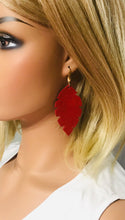Load image into Gallery viewer, Red Suede Leather Earrings - E19-1286