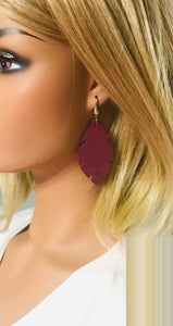 Deep Raspberry Dazzle Leather Earrings - E19-1287