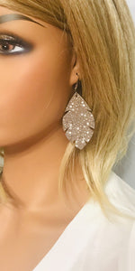 Exotic Taupe Stingray Leather Earrings - E19-1301