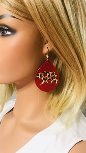 "Red Leather ""Mama Bear"" Cheetah Print Earrings - E19-1309"