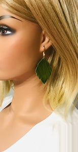 Green Genuine Leather Earrings - E19-1323
