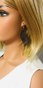 Brown Metallic Leather Earrings - E19-1326