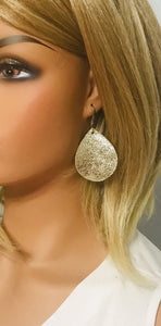 Platinum Crackle Goat Leather Earrings - E19-1327