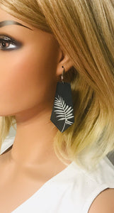 Genuine Black Leather Palm Leaf Earrings - E19-132