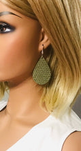 Load image into Gallery viewer, Khaki Mini Triangle Italian Leather Earrings - E19-1338
