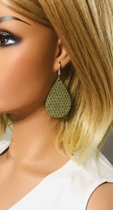 Khaki Mini Triangle Italian Leather Earrings - E19-1338