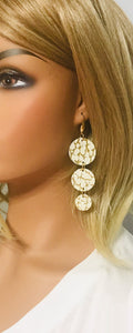 Metallic Gold On Ivory Leather Earrings - E19-1339