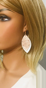 White and Rose Gold Metallic Snake Leather Earrings - E19-1353