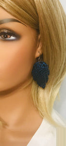 Royal Blue Metallic Leather Earrings - E19-1361