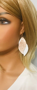 White Leather and Rose Gold Snake Leather Earrings - E19-1369