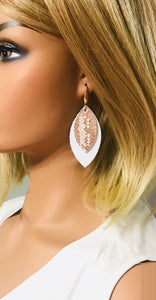 White Leather and Rose Gold Snake Leather Earrings - E19-1373