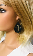 Load image into Gallery viewer, Biker Black Genuine Leather and Gold Cheetah Earrings - E19-1379