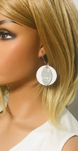 White Leather and Gray Snake Leather Hoop Earrings - E19-1384