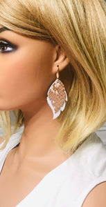 White and Rose Gold Metallic Snake Leather Earrnigs - E19-1388