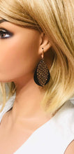 Load image into Gallery viewer, Rose Gold on Black Python Leather Over Black Leather Earrings - E19-1392