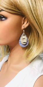 Lavender Fishtail and Bronze Alligator Leather Earrings - E19-1395