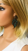 Load image into Gallery viewer, Dark Teal Aqua Western Embossed Leather Earrings - E19-1396