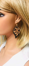 Load image into Gallery viewer, Black and Leopard Print Leather Earrings - E19-1412