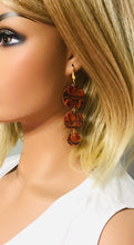 Load image into Gallery viewer, Burnt Orange Alligator Embossed Leather Earrings - E19-1428