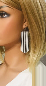 Black and White Striped Leather Earrings - E19-1429