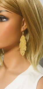Mystic Gold on Tan Leather Earrings - E19-1434