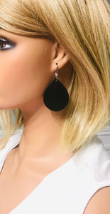 Fish Net Pattern Black Leather Earrings - E19-1436