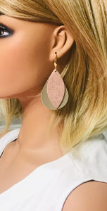 Metallic Gold and Rose Gold Leather Earrings - E19-1442