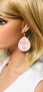 Baby Pink Divine Leather and Gold Cross Accent Leather Earrings - E19-1444