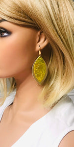Gold Metallic and Croco Embossed Leather Earrings - E19-1459
