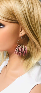Rose Gold and Platinum Genuine Leather Hoop Earrings - E19-145