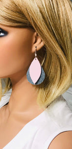 Faded Denim Leather and Baby Pink Leather Earrings - E19-1461