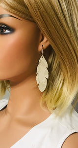 Metallic Beige Camo Leather Earrings - E19-1463
