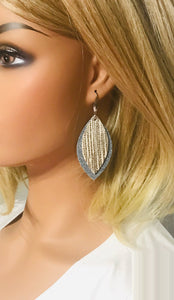 Blue Jean Denim Leather and Metallic Beige Leather Earrings - E19-1482