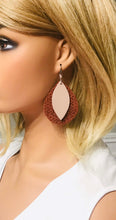 Load image into Gallery viewer, Cinnamon Italian Leather and Rose Gold Leather Earrings - E19-1501