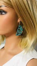 Load image into Gallery viewer, Brown and Turquoise Genuine Leather Earrings - E19-150