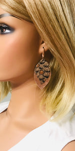 Metallic Rose Gold and Python Leather Earrings - E19-1514