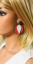 Load image into Gallery viewer, Salmon and White Embossed Alligator Leather Earrings - E19-1518