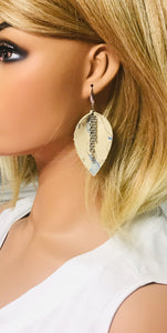 Ivory and Blue Genuine Leather Earrings - E19-151