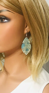 Hair On Turquoise Metallic Leather Earrings - E19-1546