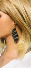 Load image into Gallery viewer, Gold Polka Dots on Black Leather Earrings - E19-1557