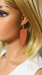 Filigree Floral Gold on Red Leather Earrings - E19-1577