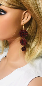 Dark Red Cranberry Alligator Leather Earrings - E19-1591