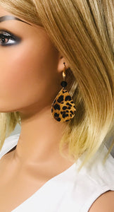 Gold Metallic Banana Leopard Leather Earrings - E19-1614